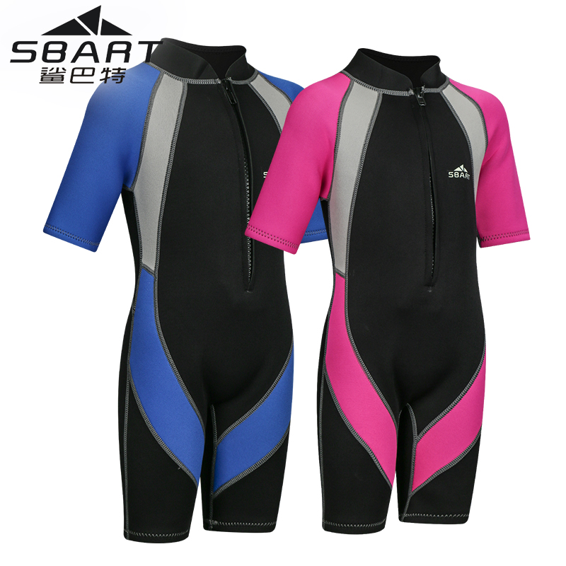 SBART 2mm Neoprene Wetsuits Kids Warm Children One Piece Diving Suit Surfing Rash Guards for Boys Girls Short Sleeve Swimwear L цена