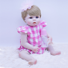 55cm High quality blonde hair Bebes Reborn Doll Toys full  Silicone reborn baby Doll cute princess boneca girls play house toy pursue 24 60 cm merry christmas soft vinyl silicone reborn toddler princess baby girl doll toys for girls house play doll toys