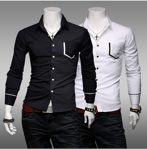 8ff2367a76e Spring 2014 New Arrival Stylish Black And White Dress Shirts For Men Slim  Fit Stitching Long Sleeve Casual Shirt M-XXL
