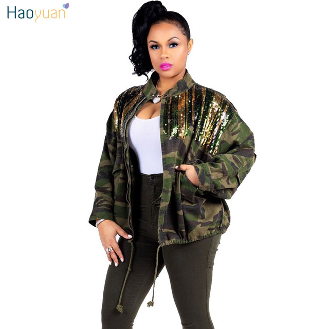 9e42be3001dac HAOYUAN Camouflage Sequin Jacket Outwear Women Clothes Full Sleeve Plus Size  Autumn Streetwear Army Green Camo