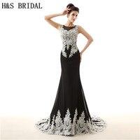 H&S BRIDAL O Neck White Black Chiffon Evening Dress Mermaid evening gowns for women Sheer Back long dress elegant evening