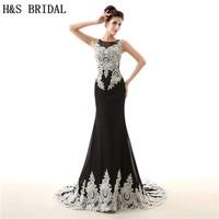 H S BRIDAL O Neck White Black Chiffon Evening Dress Mermaid Evening Gowns For Women Sheer