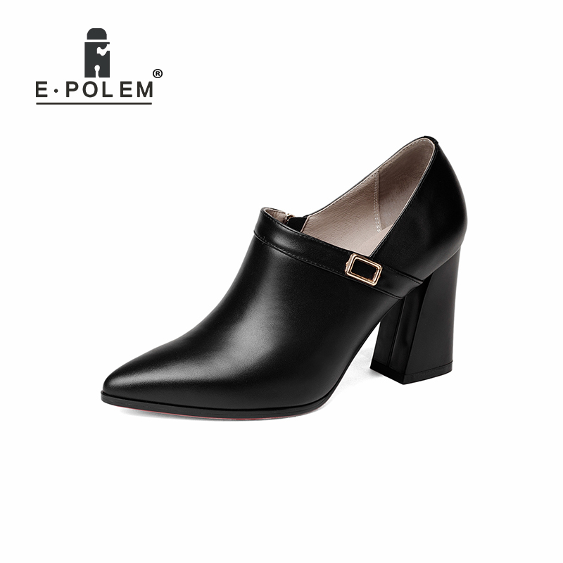 Punk Metal Buckle Female Genuine Leather Pointed Toe High Heel Shoes Martin Boots Zip Ankle Boots Women Fashionable Booties ladies runway shoes leather shark lock wedge boots pointed toe metal button zip ankle boots for women motorcycle autumn booties
