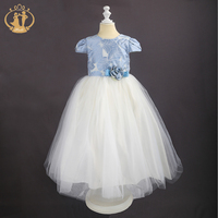 Nimble Princess S Elegant Evening Ball Gown Long Print Bow Sashes Dresses For Kids Girls