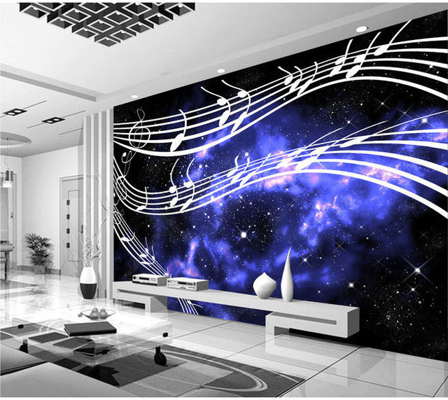 KTV Television Musical Note Sheet Music Background 3D Wallpaper Murals Living Room Bedroom Study Paper