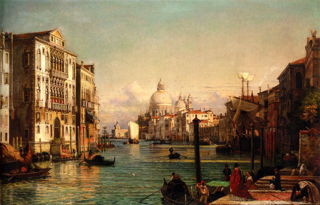 Beautiful Landscape Canvas Art Oil Painting Friedrich Nerly the Younger Grand Cityscape of Venice with Church Home Decor