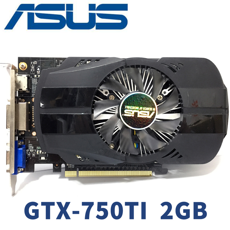 Asus GTX-750TI-OC-2GB GTX750TI GTX 750TI 2G D5 DDR5 128 Bit PC Desktop Graphics Cards PCI Express 3.0 Computer GTX 750 Video