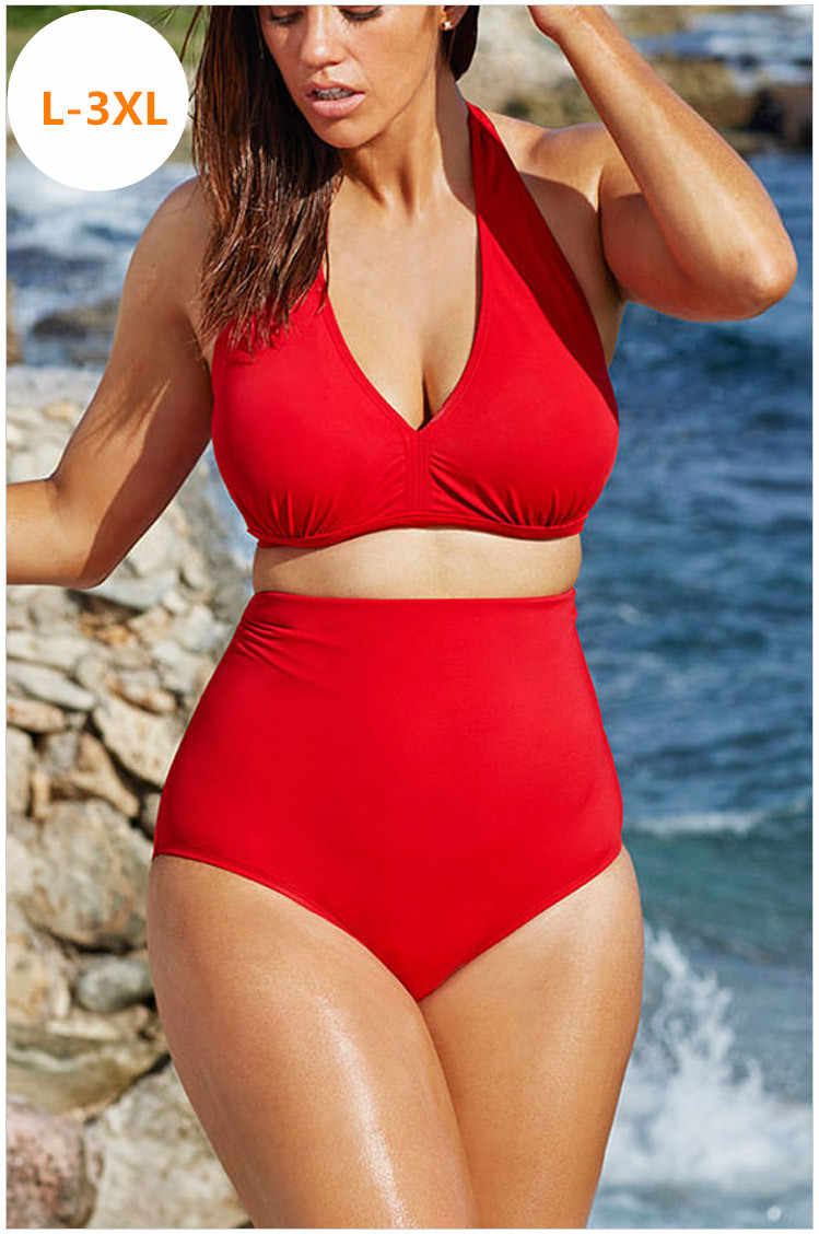 3xl Swimwear Big 2016 High Women Size Lady Bikini Waist Swimsuit Biquini Overweight Suit Fat Padded Quality Bathing Extra lcTK13uFJ