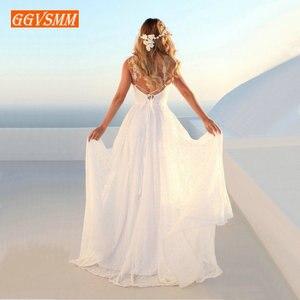 Image 4 - Vestido boêmio luxuoso de renda marfim, de casamento, longo, decote em v, costas nuas, estilo boho rural, para praia, feminino, festa, 2020