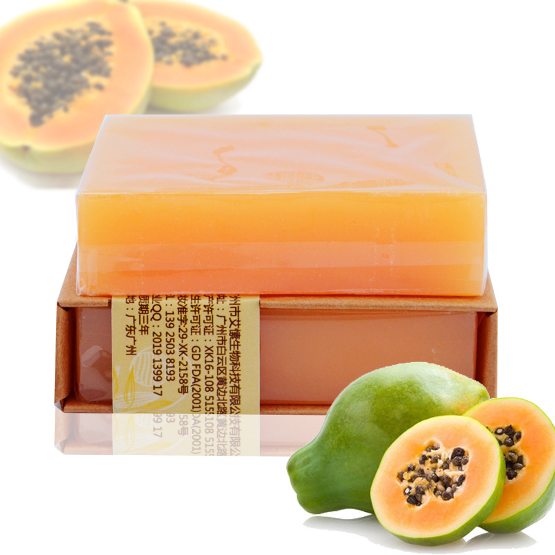 100g Natural Organic Herbal Green Papaya Whitening Handmade Soap Lightening Skin Remove Acne Moisturizing Cleansing Bath Soap 1