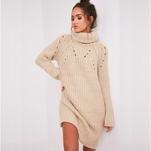 Girls Casual Turtleneck Long Knitted Sweater Dress Women Loose Bodycon Dress Pullover Female Autumn Winter Dresses