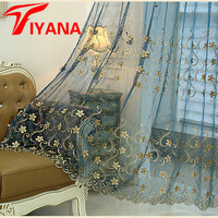 Tiyana Beige Tulle Curtains Pearl Design Organza Fabric Window Living Room Bedroom Blue Voile Curtains Kitchen