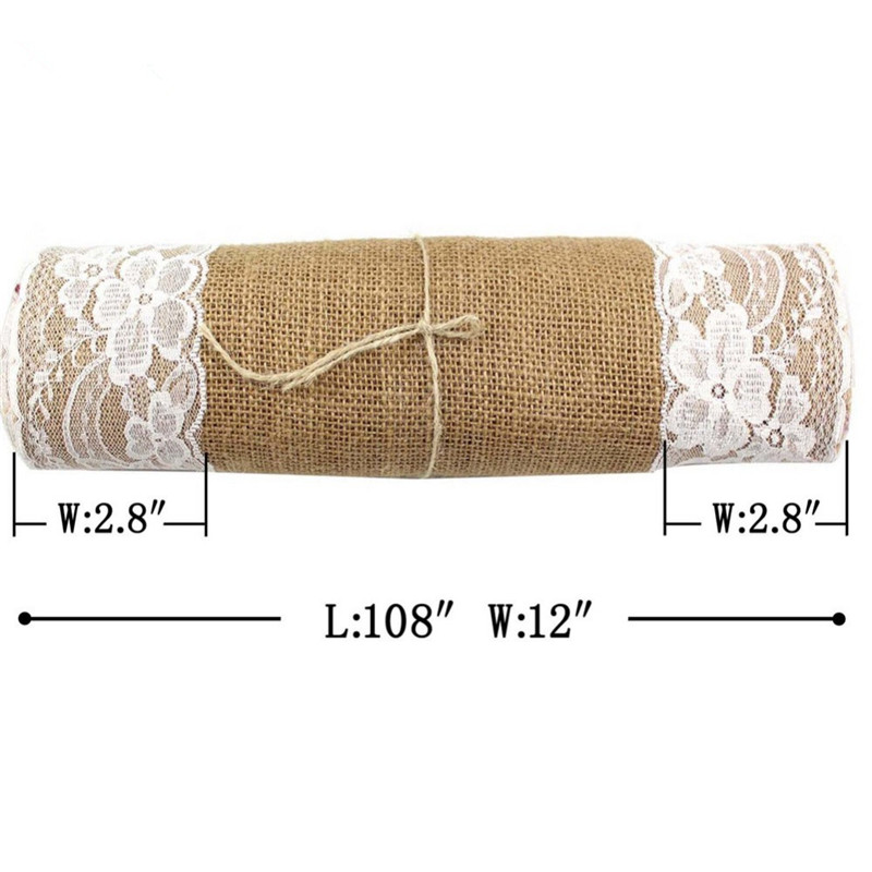 Free by UPS 10Pcs 30x275cm Rustic Burlap Lace Hessian Line Table Runner Natural Jute For Party Wedding Decoration AA7922 in Table Runners from Home Garden