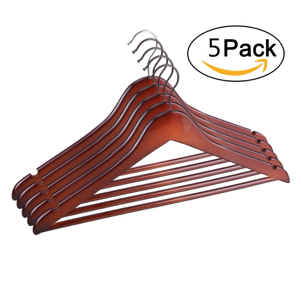 5 Pcs High Quality Brownish Red Wooden Hanger Suit Coat Hangers Clothes Rack Hotel Clothing Store