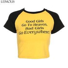 LEIMOLIS letter cotton casual yellow t shirt women summer harajuku kawaii crop top punk rock gothic sexy streetwear black tops