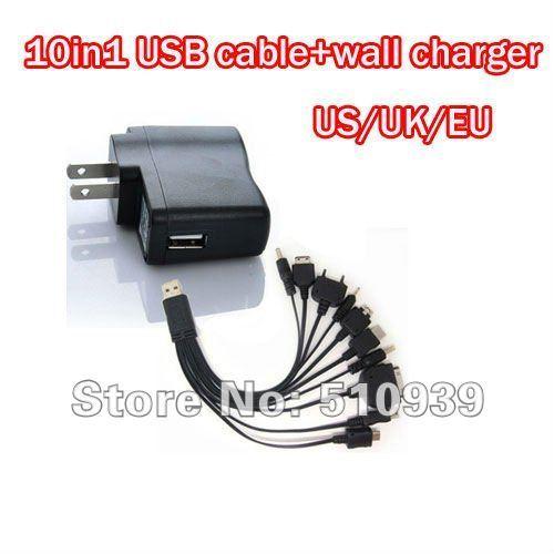 Free shipping multi charger 10 in 1 universal USB Charging Cable usb line.charger line+USB wall Charger(EU/US Plug) 1set/lot