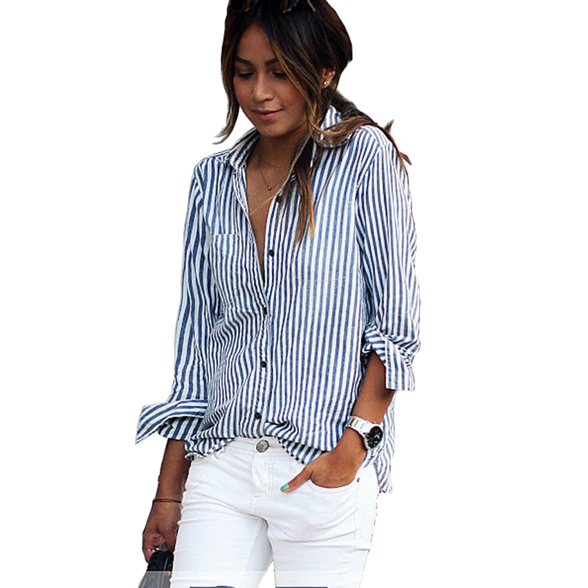 Blusas Mujer De Moda 2017 Work Blouse Plus Size Long Sleeve Top Women Blouses for Women Classic Striped Shirt Camisas Mujer