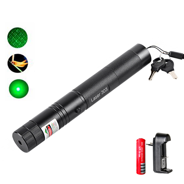 imice Powerful Green Laser Pointer 532nm 303 Laser green Pen Adjustable Starry Head Burning Match With Charger + 18650 Battery