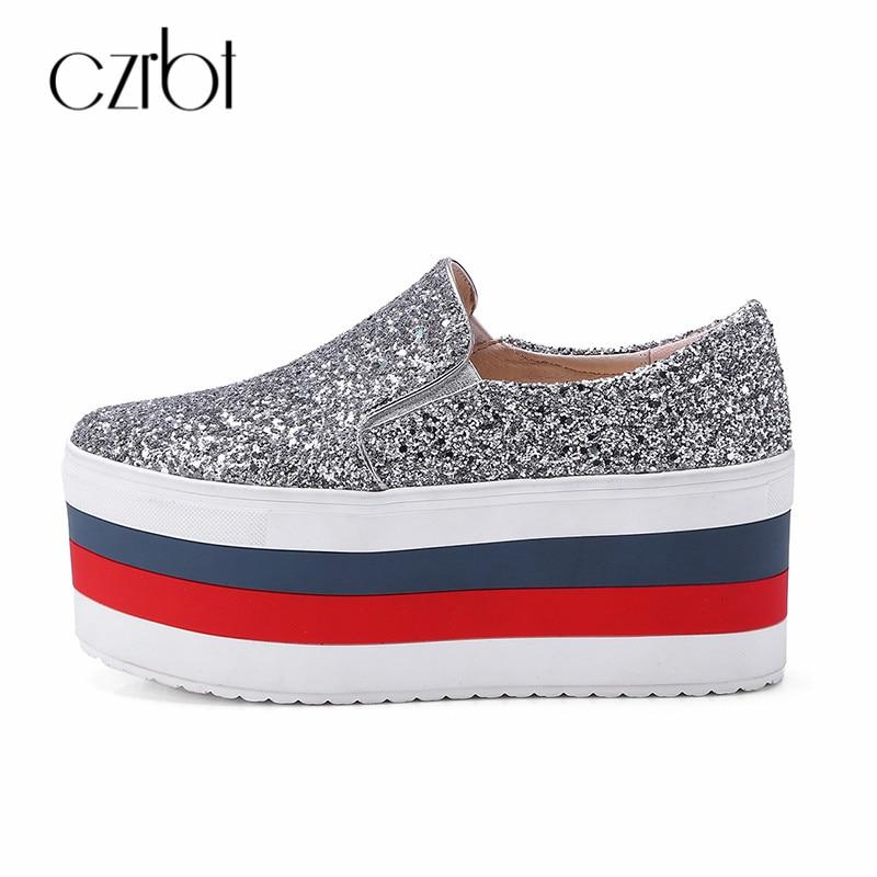 CZRBT haute plate-forme femmes chaussures décontracté épais fond plate-forme chaussures femmes 2018 automne sans lacet mocassins Bling femmes chaussures