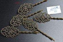 FLTMRH 2pcs 67*20mm High Quality Bronze Plated Material Hairpin Hair Clips Hairpin Base Setting Cabochon Cameo(China)