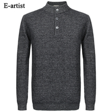 E-artist Men's Business Casual O-Neck Knitted Wool Pullover Sweaters Autumn Winter Long Sleeve Slim Fit Tops Plus Size 5XL M02