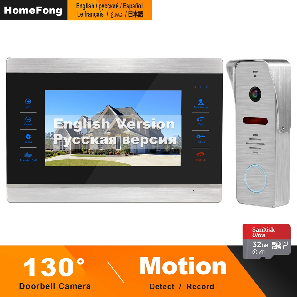 HomeFong Video Doorbell 7 Inch 1200TVL Video Intercom With 130° Wide Angle Doorbell Support Motion Sensor For Home Intercom Kits