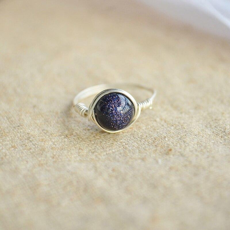 Blau Goldstone Natürliche Stein Birthstone Solitaire 925 Sterling ...