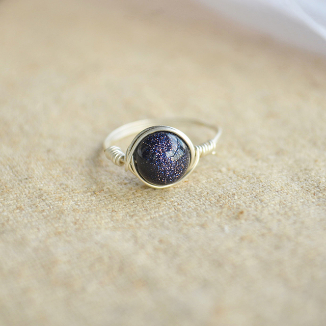Blue Goldstone Natural Stone Birthstone Solitaire 925 Sterling