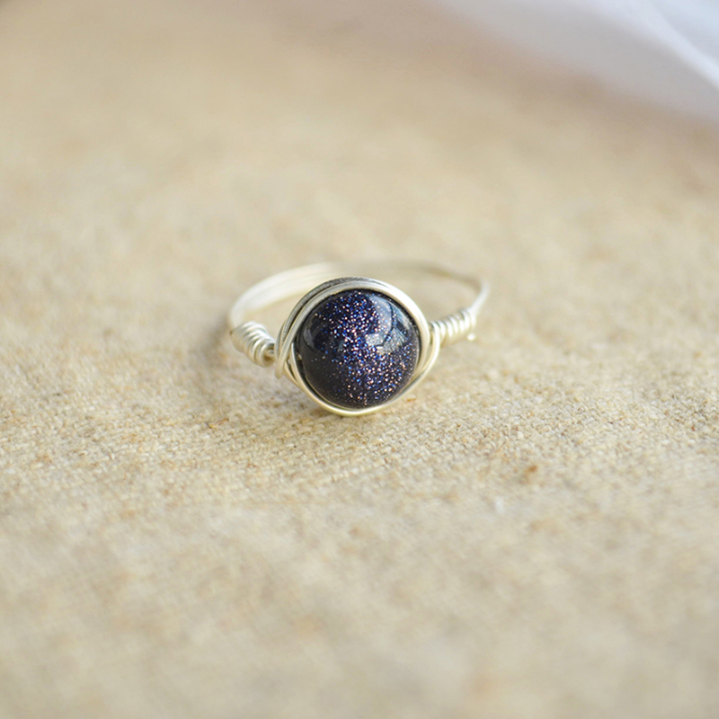 Blue Goldstone Natural Stone Birthstone Solitaire 925 Sterling Silver Wire Packed Wedding Rings For Women Jewelry Boho Vintage