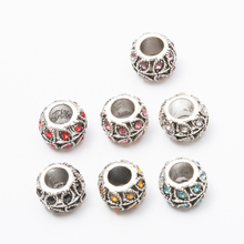 20pcs Crystal Flower vine European beads Fit Pandora Charms Original Bracelet Spacer Charm Beads Jewelry Making  DIY js1460