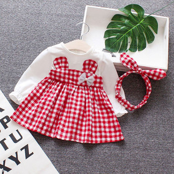 361c1d81e Primavera bebé Niñas Ropa overol vestido diadema para bebés recién nacidos  1 er cumpleaños Bebé Vestidos niñas Vestido de manga larga