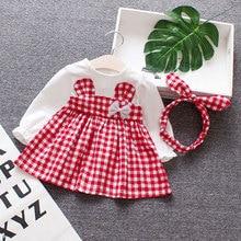 Spring Baby girls clothes overalls dress Headband for newbor