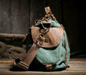 Image 4 - Unisex Retro New 2020 Canvas Leather women messenger bags  Men Crossbody Bag shoulder bag duffel bags Weekend  free shipping