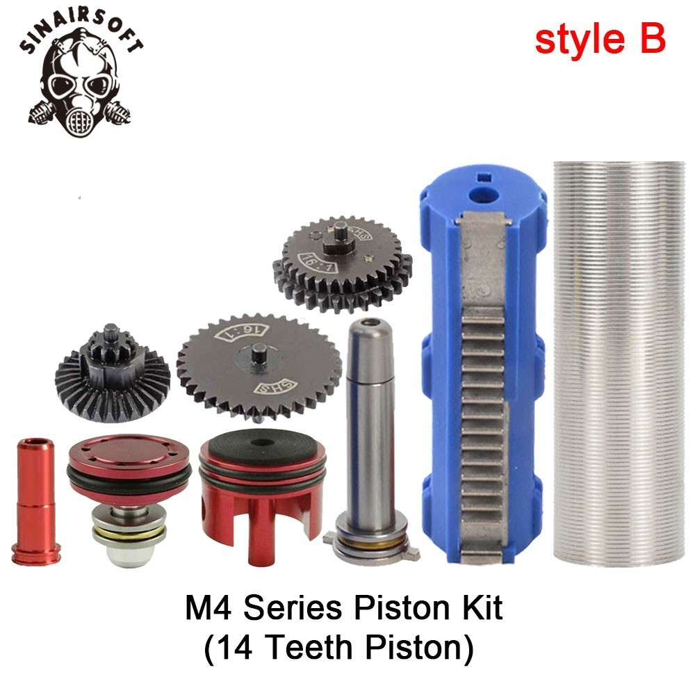 SHS-16-1-Gear-Nozzle-Cylinder-Spring-Guide-14-Teeth-Piston-Kit-Fit-Airsoft-M4-M16 (1)