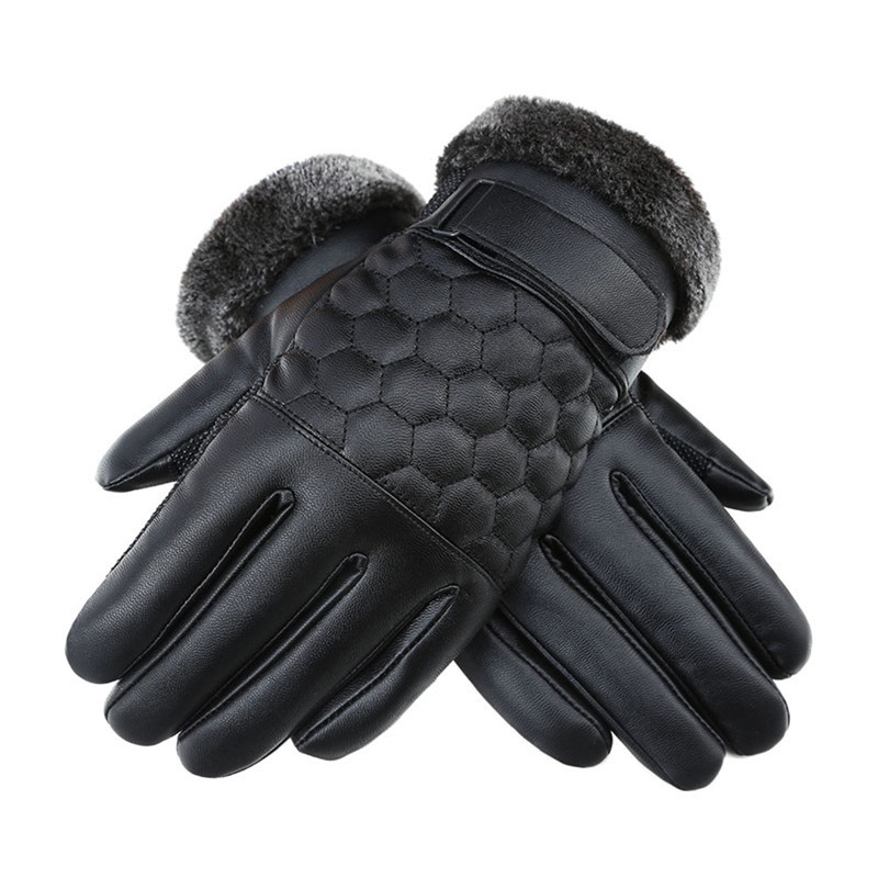 Outdoor Sports PU Leather Touchscreen Gloves for Men Riding Skiing Winter Thermal Thicken Winter Warm Gloves