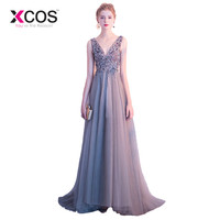 2aeb55bafee7 XCOS Sexy Side Split Prom Dresses 2018 Deep V Neck Backless Beads Crystal  Party Gowns Sleeveless