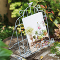 Vintage iron bird frame books magazine menu easel music stand metal garden decoration