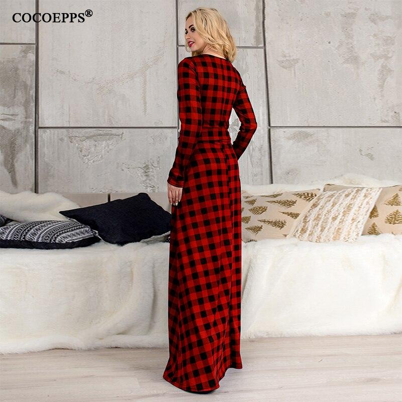 6XL elegant maxi Plaid Women Dress big size 2018 Spring Summer Plus Size long dress Long Sleeve Casual dress vintage vestidos 1