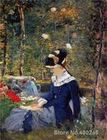 Young woman in the garden Edouard Manet painting for sale Hand painted High quality