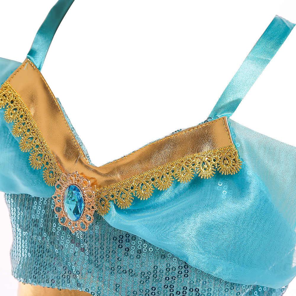 โคมไฟของ Aladdin Jasmine Belly Dance Cosplay เสื้อผ้าชุดสำหรับสาวเจ้าหญิงคริสต์มาสเด็กฮาโลวีนเด็กเสื้อผ้า