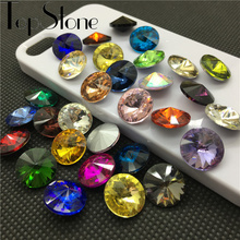 All Sizes Colors Glass Crystal Rivoli Fancy Stone Pointed Back Round Jewelry Stones 6mm 8mm,10mm,12mm,14mm,16,18mm(China)