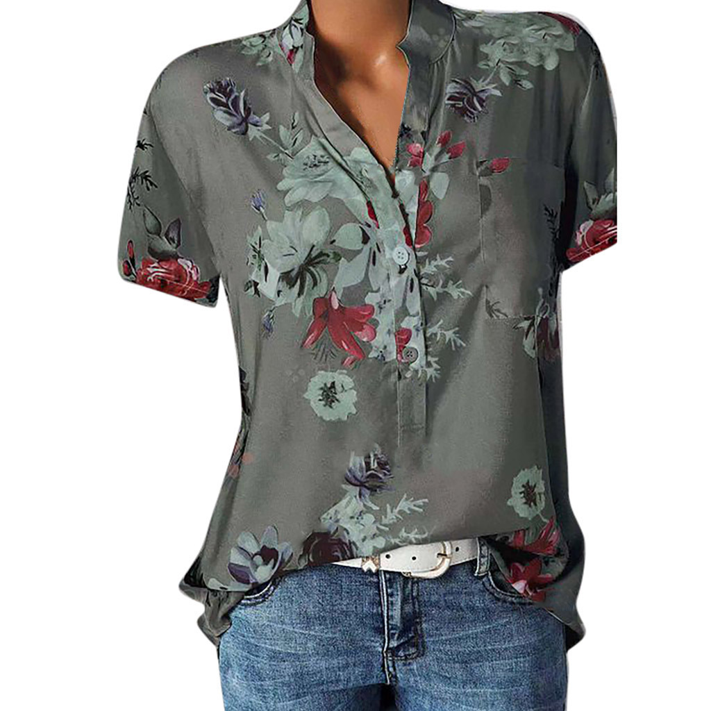 Women Floral Print   Blouse     Shirt   Short Sleeve   Blouse   Button V-neck   Shirts   Casual Tops   Blouse   Sexy Femme Blusa Mujer Plus Size 5XL