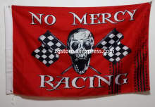 No Mercy Racing Pirate Flag Skull with Checkered Flag hot sell goods 3X5FT 150X90CM Banner brass metal holes