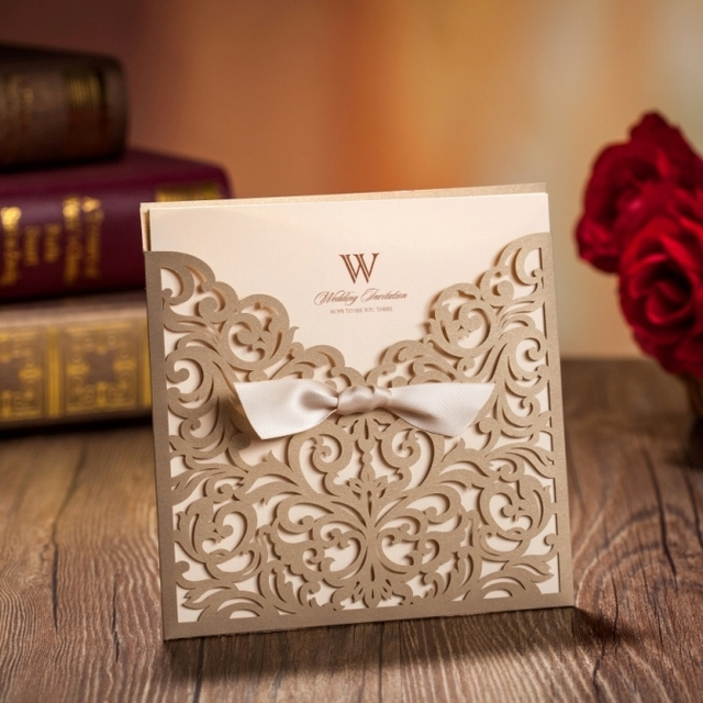 WISHMADE Free Shipping Gold Laser Cut Bow knot Wedding invitations