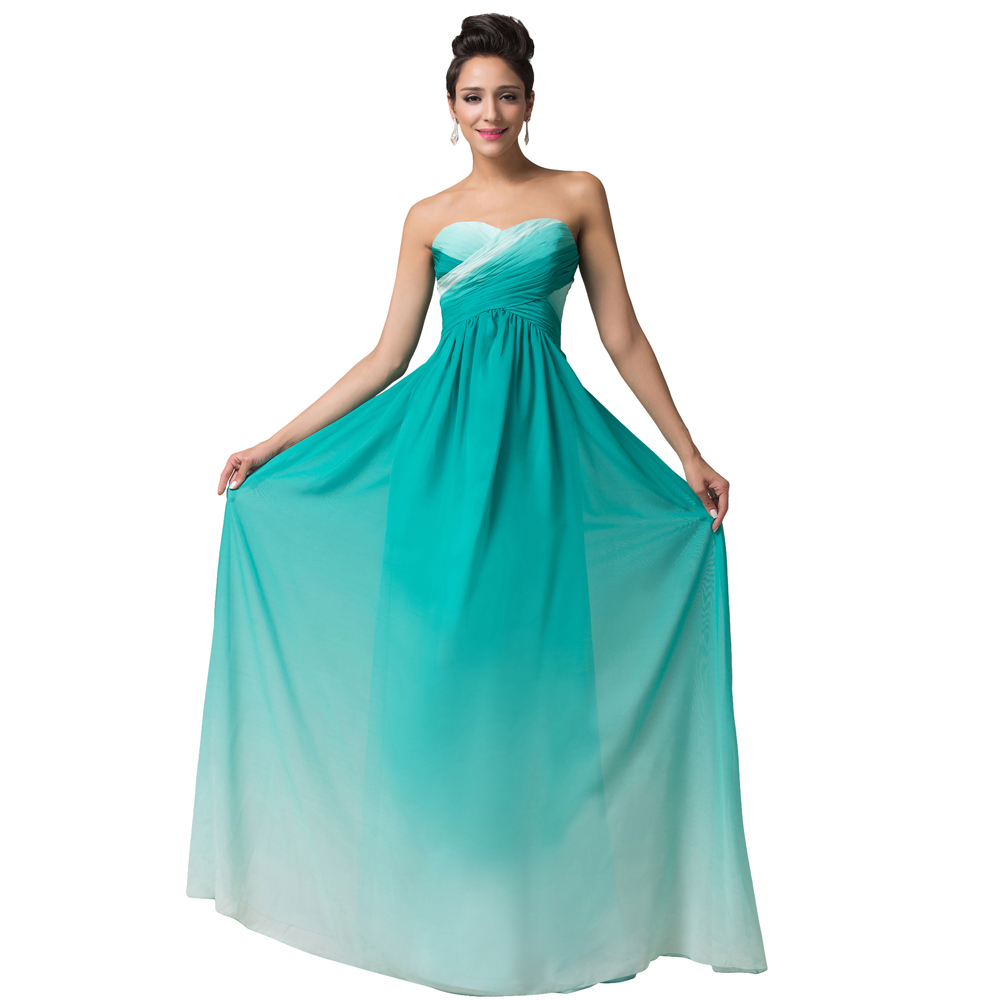 Real photo floor length long ombre dress red blue green for Blue long dress wedding