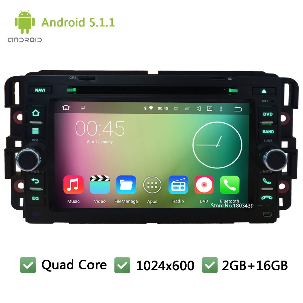 "7"" Quad Core 16GB Android 5.1.1 1024*600 WIFI DAB Car Multimedia DVD Player Radio Stereo Audio Screen PC For Hummer H2 2008-2011"