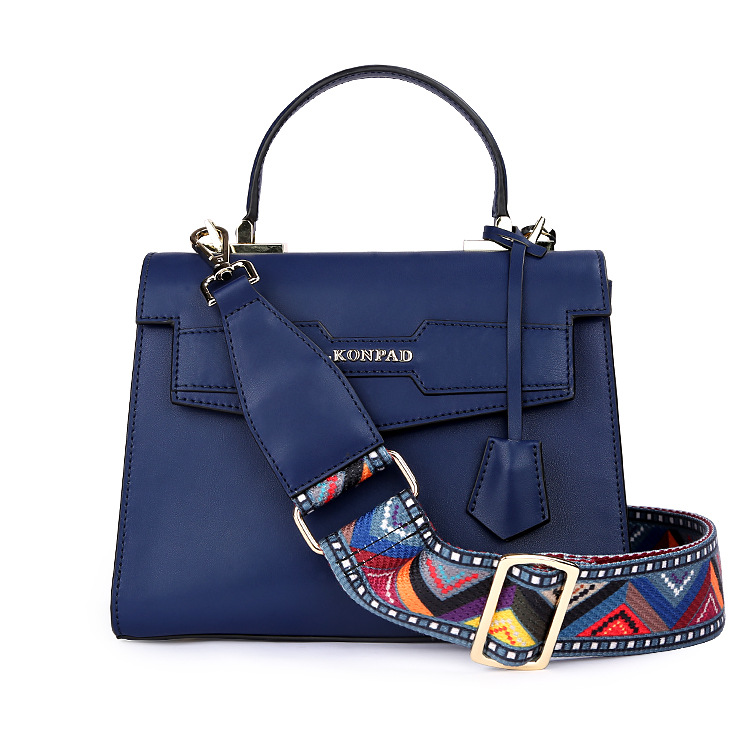 Women Fashion Genuine Leather Solid Ribbon Crossbody Bag Shoulder Bag Ms Pure Color Buckle Small Square Bag G retro women s crossbody bag with solid color and buckle design