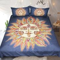 Blue Color Reactive Painting Comforter Bedding Set US AU Size Duvet Cover Sets King Queen Size