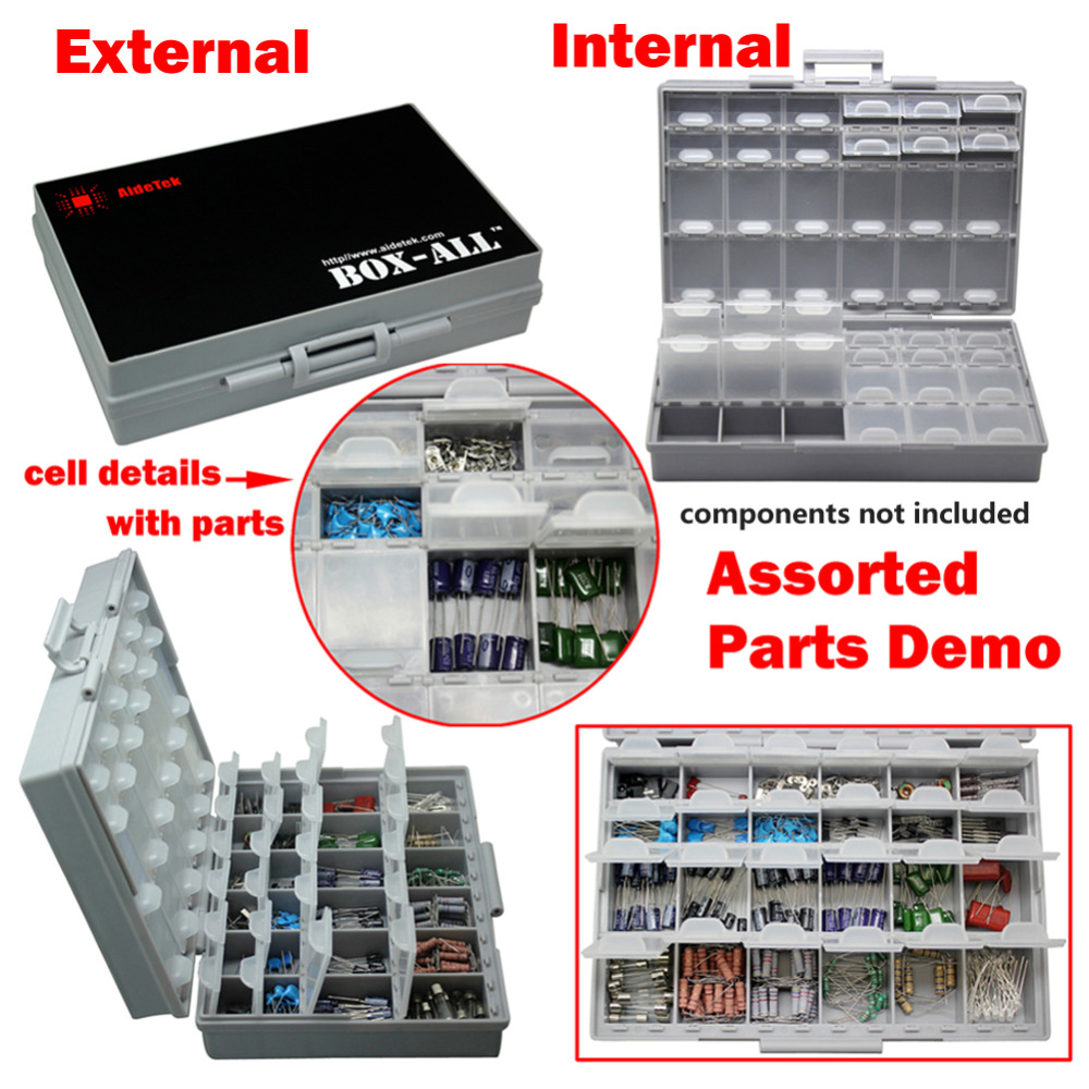 US $18 89 10% OFF|AideTek enclosure SMD SMT capacitor BOX organizer surface  mount Electronics Storage Cases &Organizers plasitc toolbox BOXALL48-in