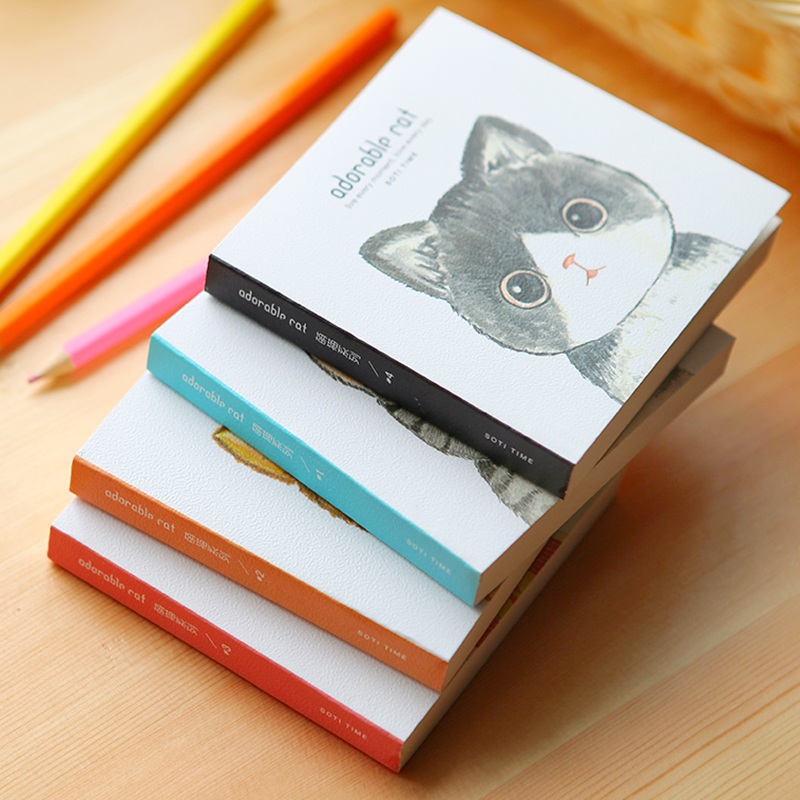 MIRUI Creative Stationery Graffiti Cute Cat Notes Pocket Notebook Square Book
